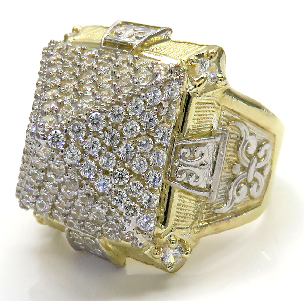 10k two tone gold cz pyramid ring 1.80ct