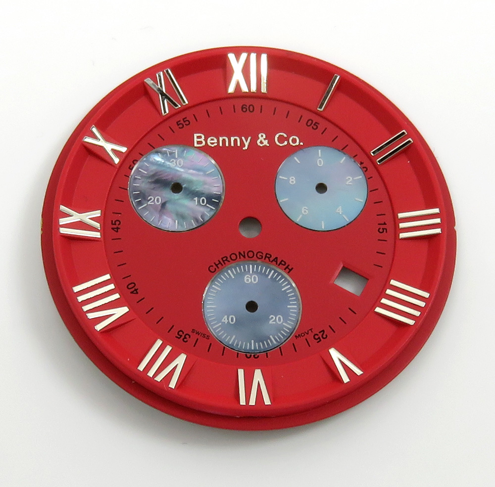 Mens blood red benny & co dial part