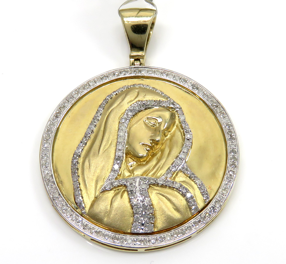 10k yellow gold round diamonds virgin mary pendant 0.95ct
