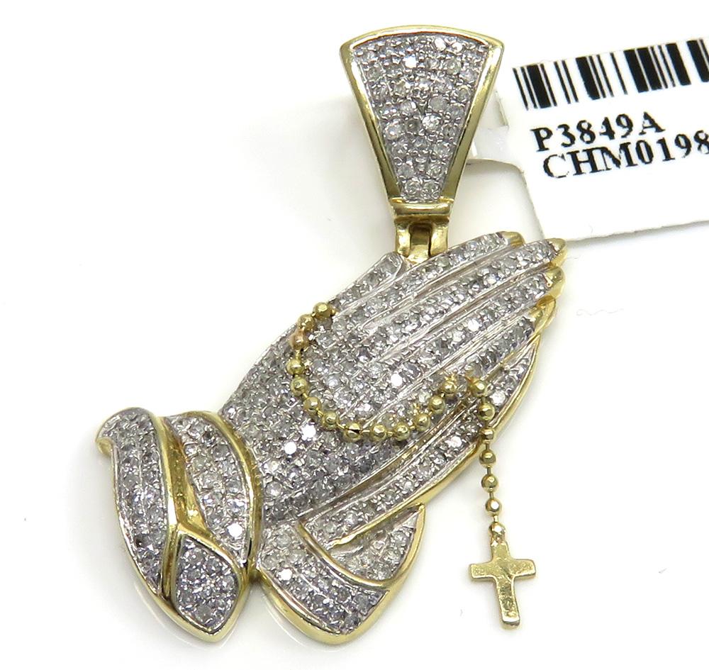 14k yellow gold diamond praying hands hanging cross pendant 0.81ct