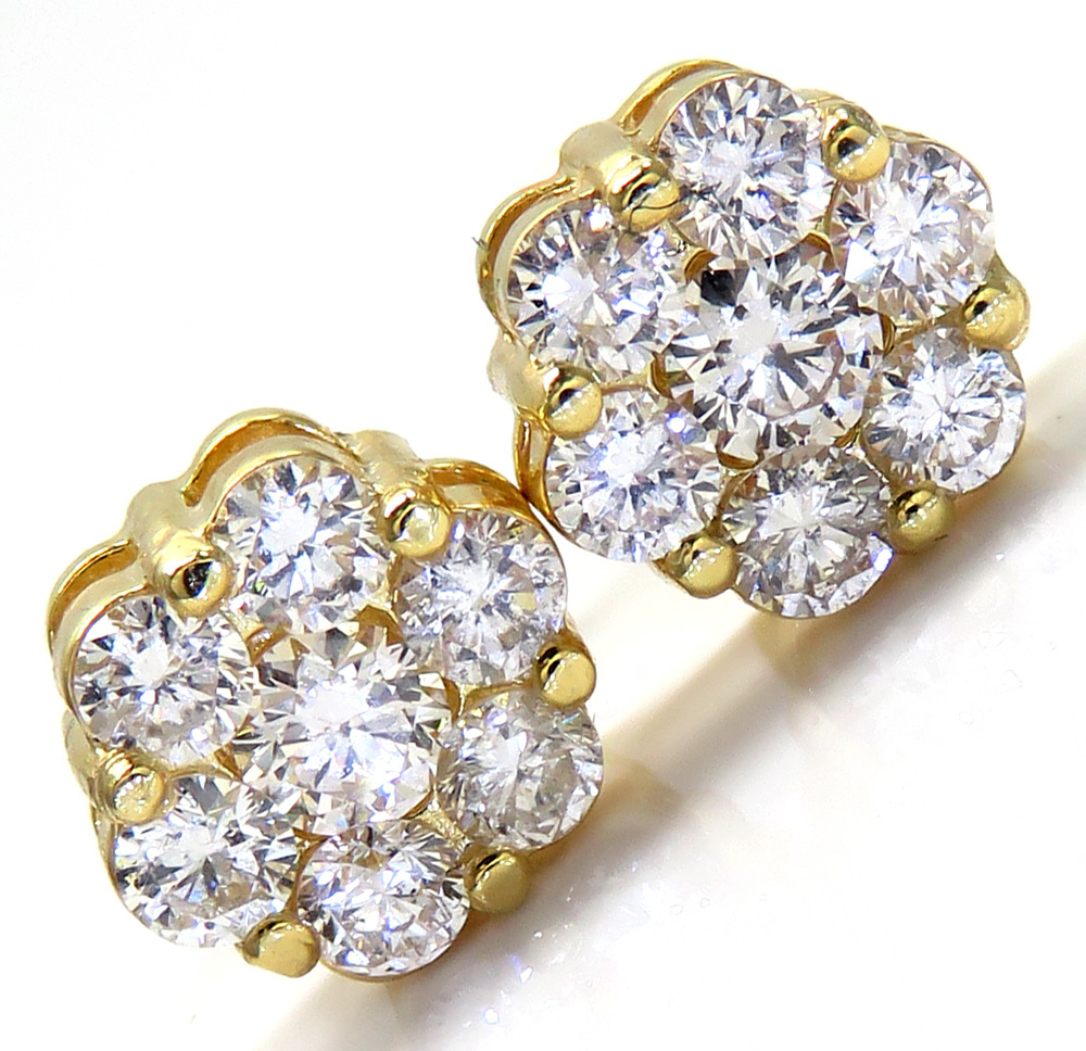 14k yellow gold round 14 diamond cluster 8mm earrings 1.25ct