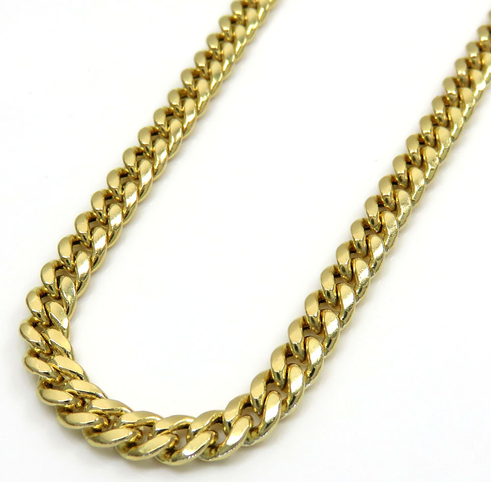 35cccdef4e12a 10k Yellow Gold Hollow Puffed Miami Chain 24 Inch 3.70mm