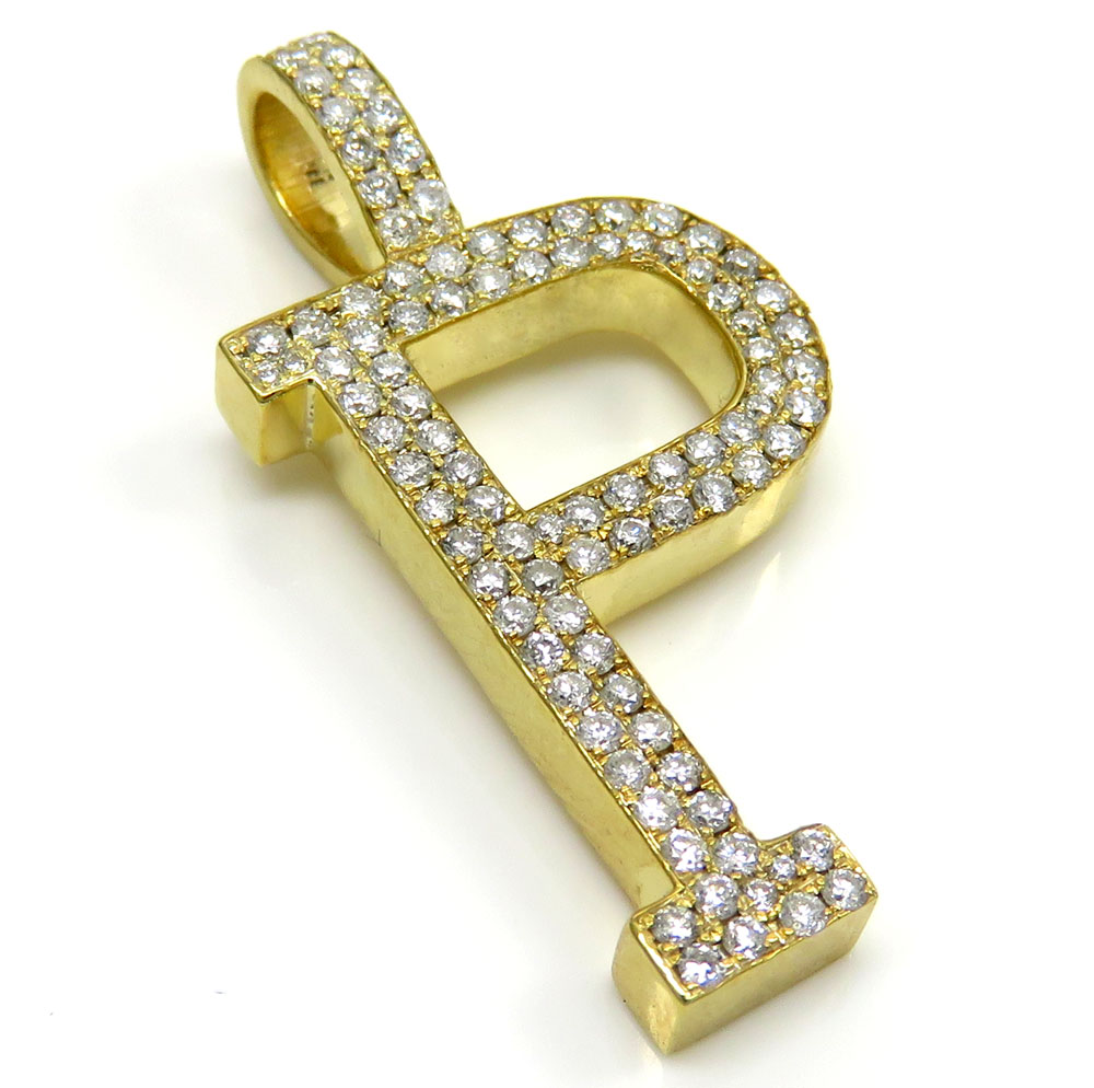 10k yellow gold diamond custom made initial pendant 050ct aloadofball Gallery