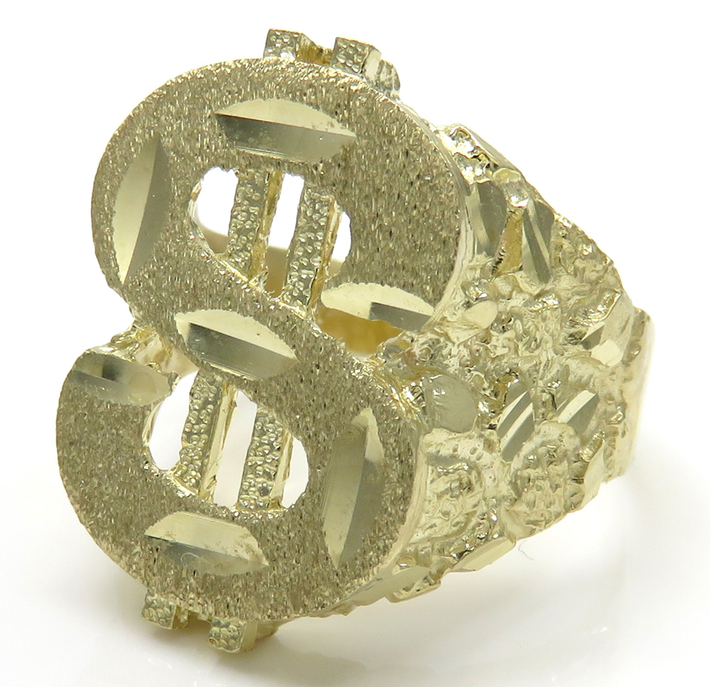 10k yellow gold diamond cut nugget dollar sign ring