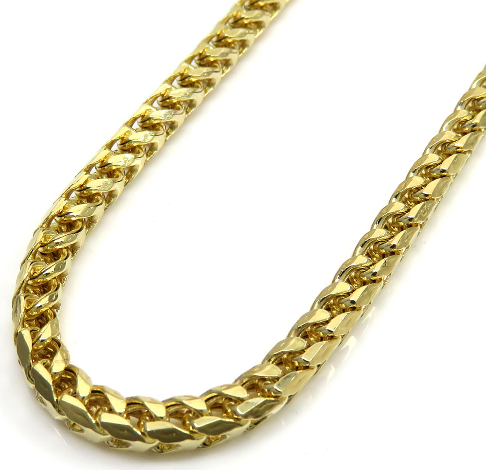 10k yellow gold tight hollow franco link chain 24 inch 3.2mm