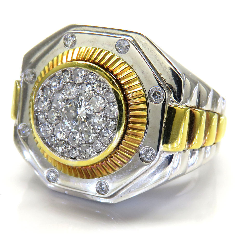 10k two tone diamond gold presidential style ring 0.71ct