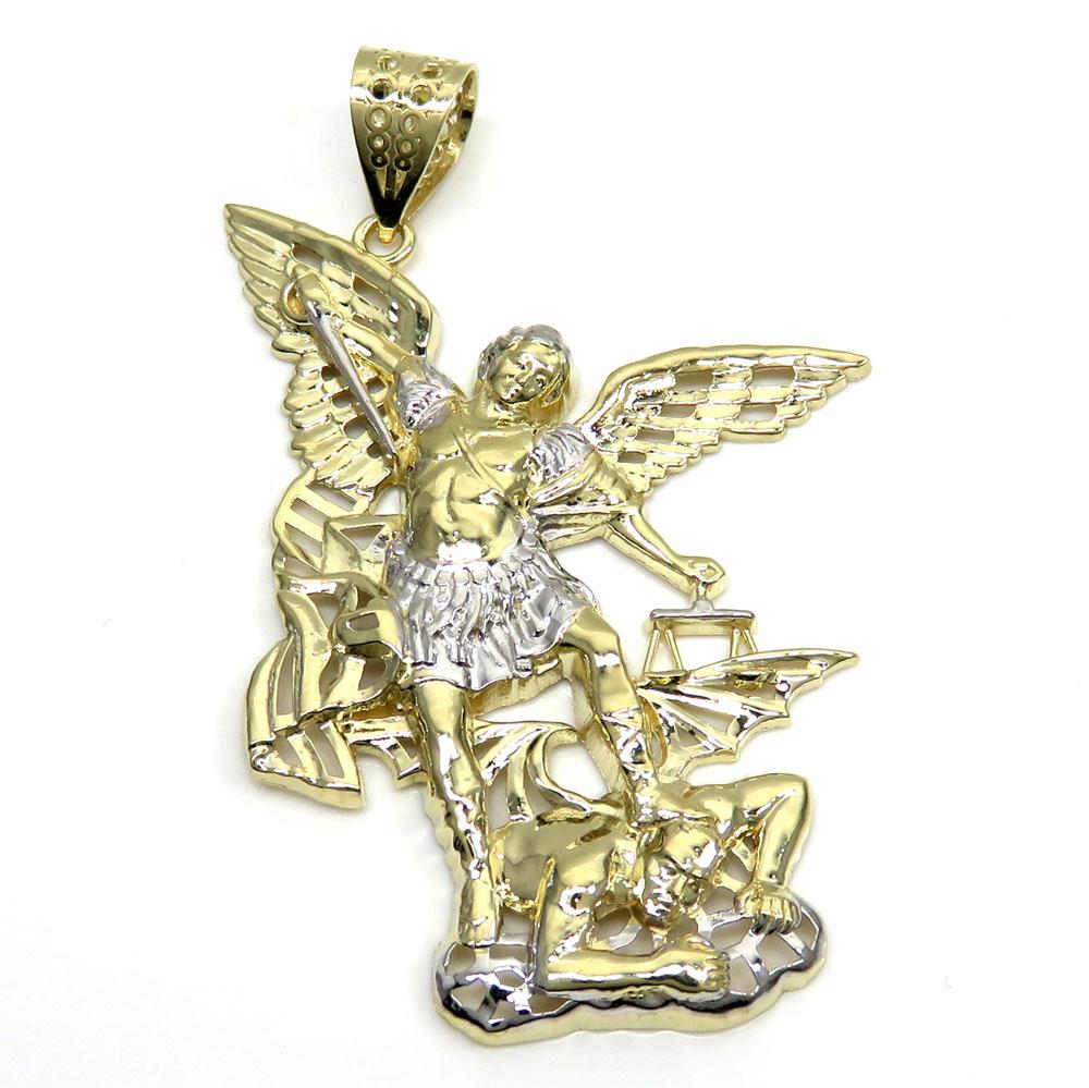 10k two tone gold medium angel v demon saint michaels pendant