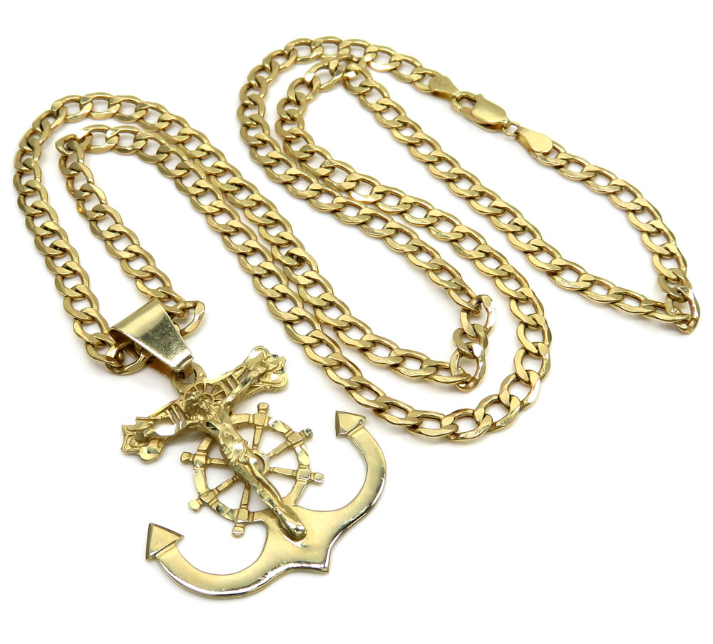 cf4cb43b4f827 10K Yellow Gold Large Anchor Jesus Pendant With 26 Inch 5.20mm ...