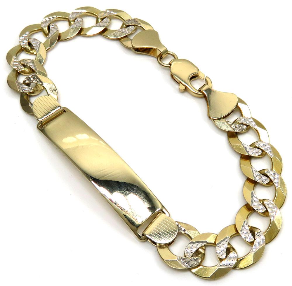 14k Tri Color Gold Mens 2 Line Nugget Cuban Link ID Bracelet 8.5