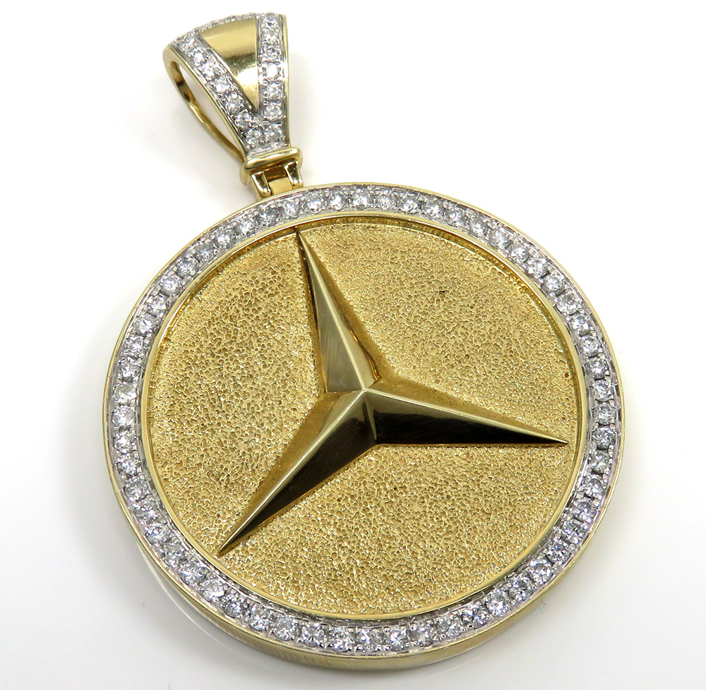 10k yellow gold large diamond star medallion pendant 2.02ct