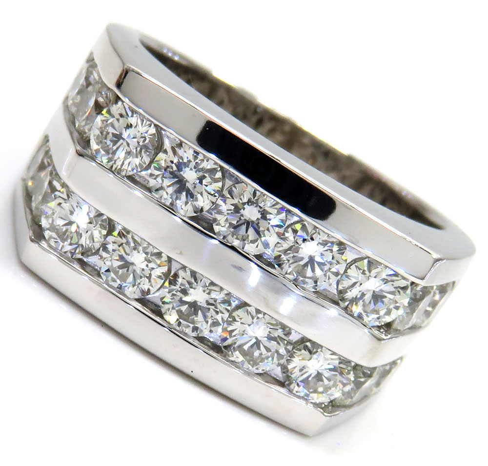 14k white gold 2 row 20 pointer diamond wedding band ring 3.70ct