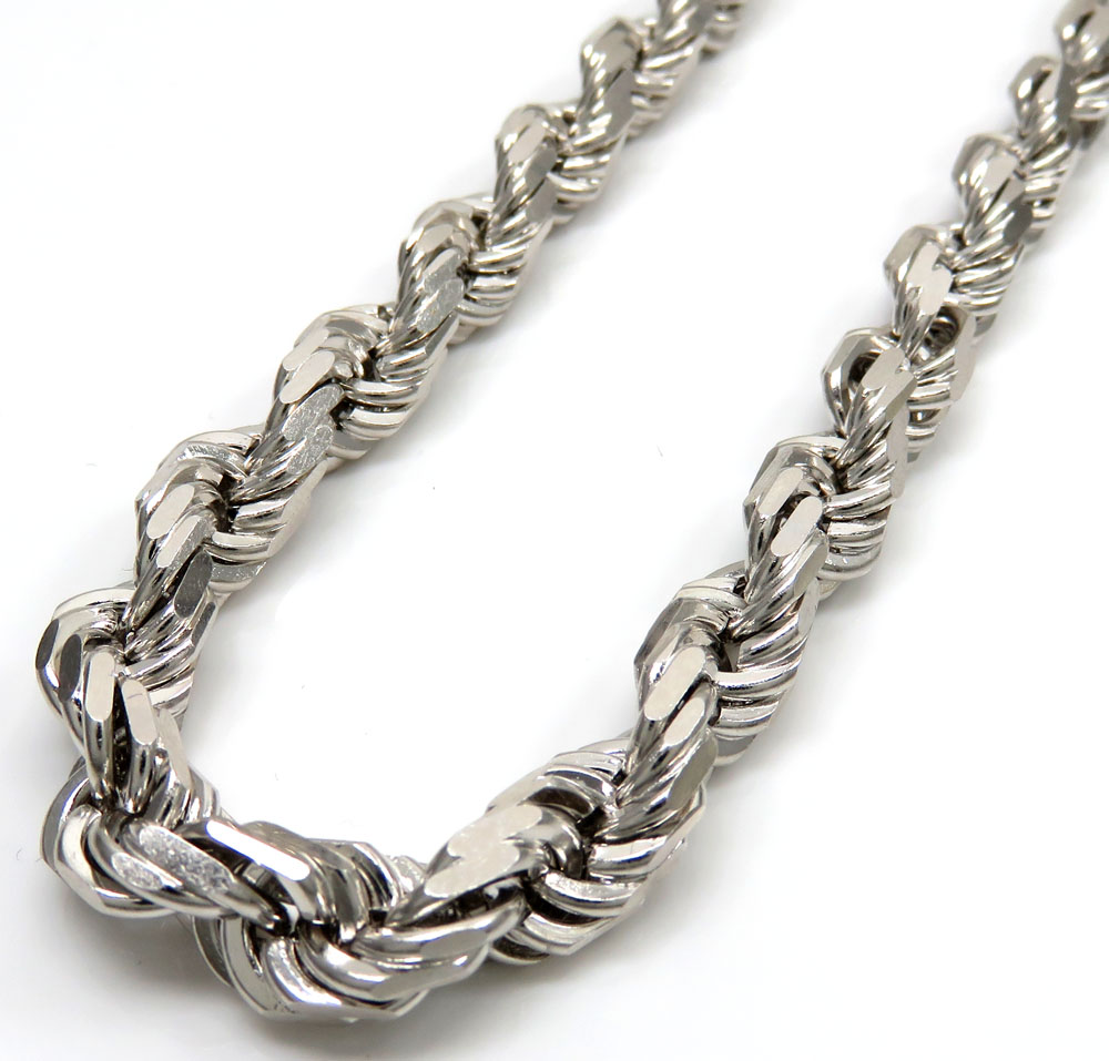 14k white gold solid diamond cut rope chain 28 inch 7mm