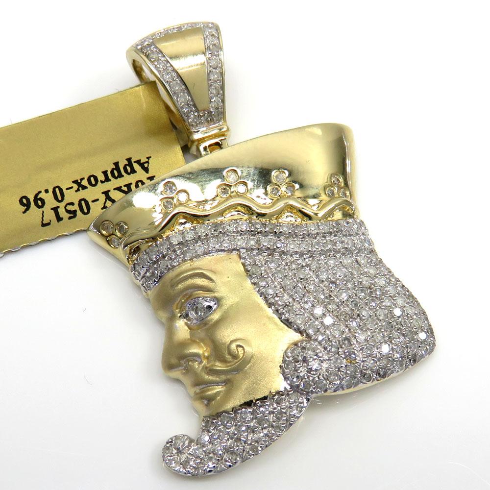 10k yellow gold diamond king of clubs head pendant 0.96ct