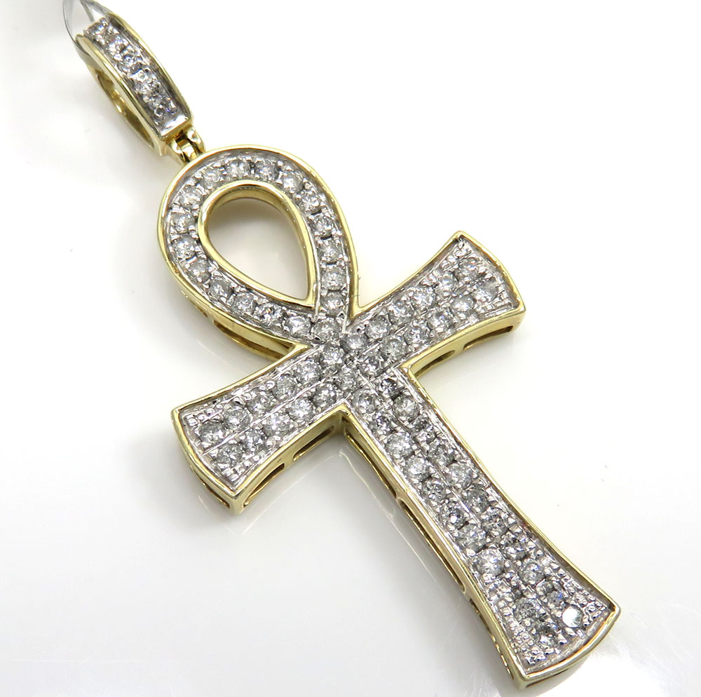 10K Yellow Gold 2 Row Diamond Ankh Cross 0.96CT