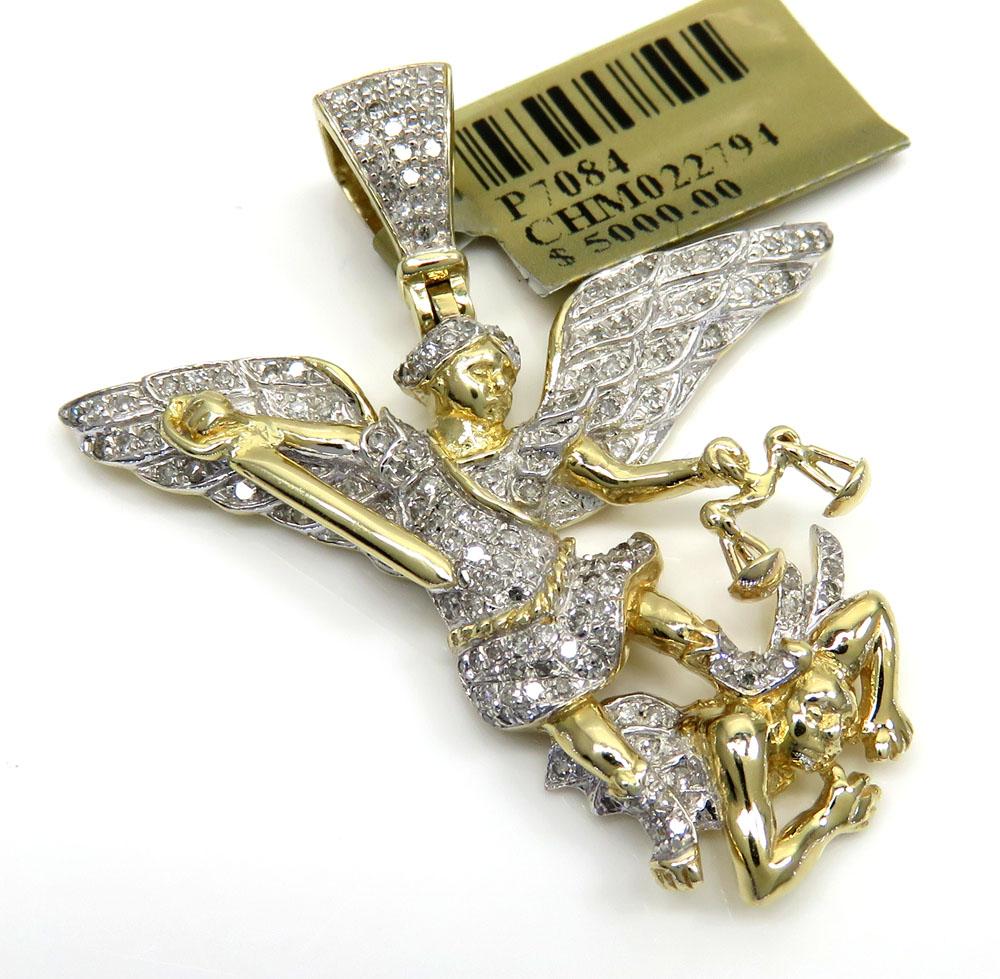 10k yellow gold medium diamond angel vs demon pendant 0.54ct