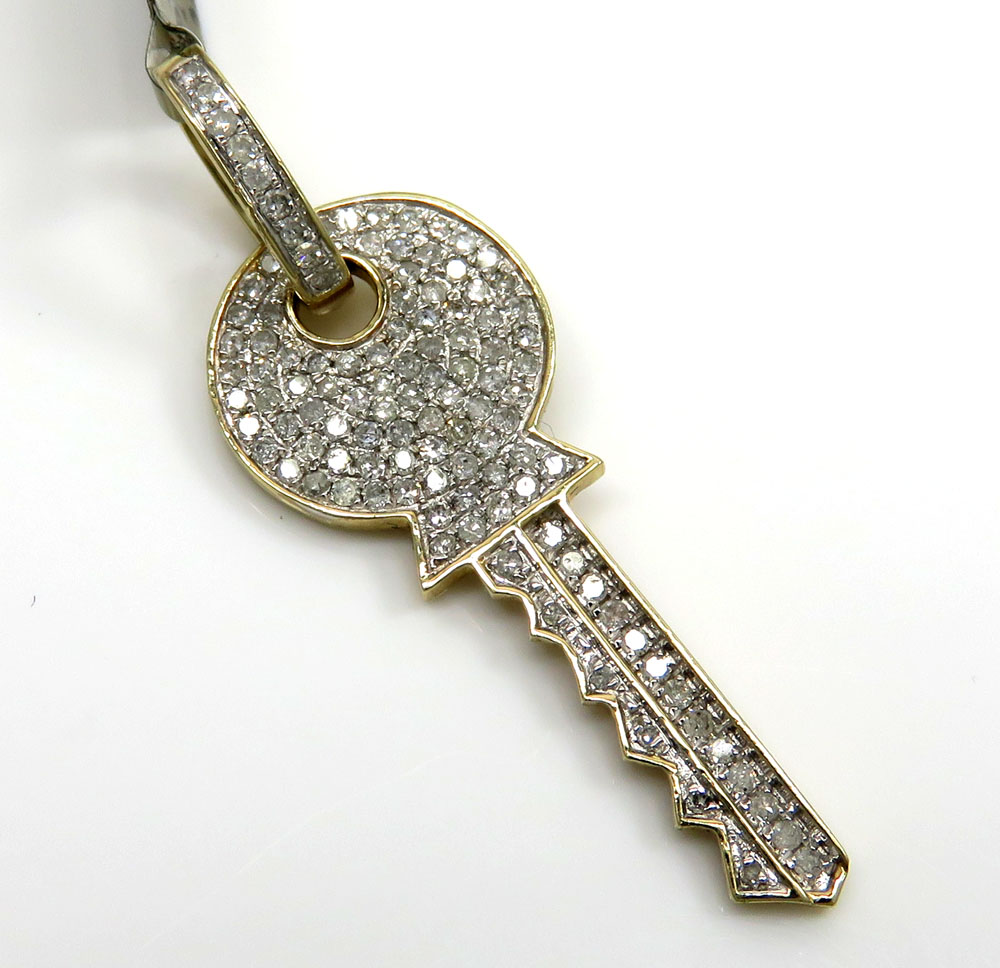 10k yellow gold diamond key pendant 0.57ct