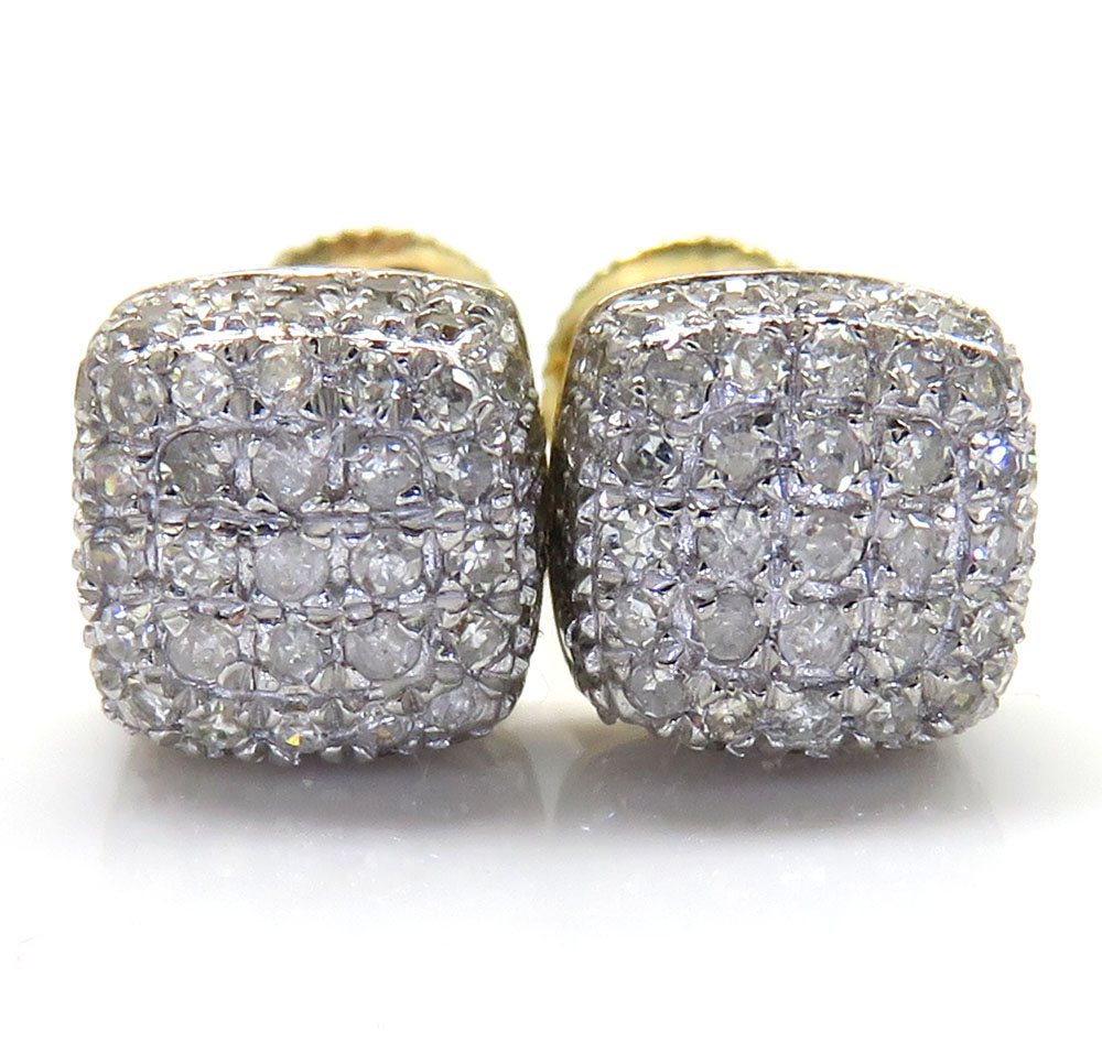 10k Yellow Gold Diamond 5 Row Cube Earrings 0.55CT