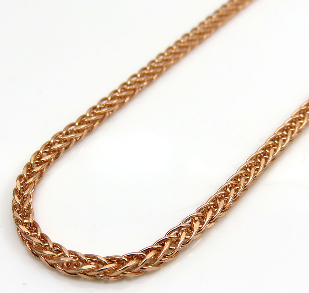 10k rose gold skinny hollow wheat franco chain 24 inch 2mm