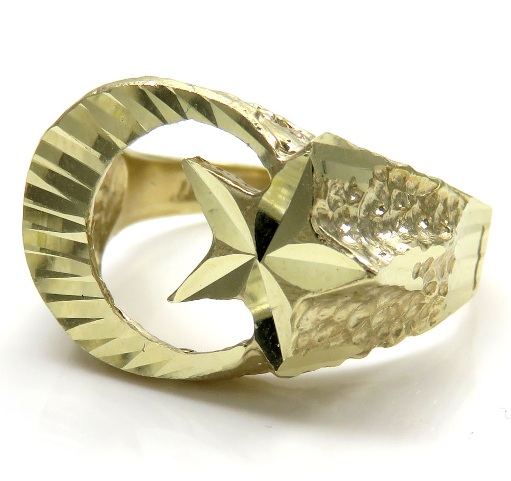 10K Yellow Gold Islam Crescent Moon And Star Ring