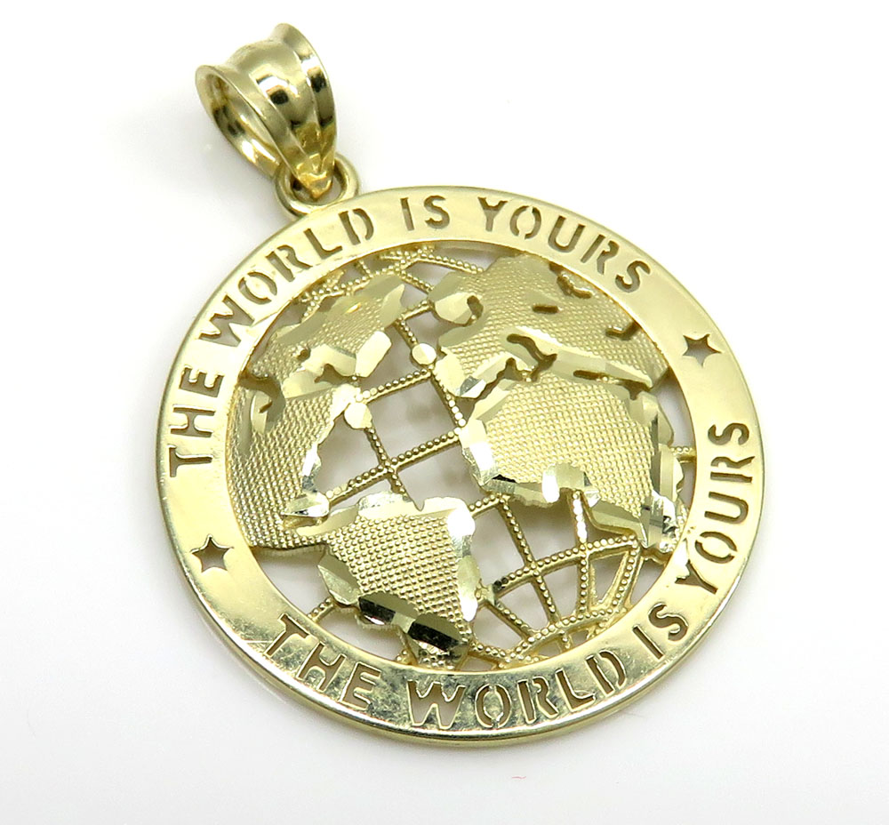 10k Yellow Gold Small The World Is