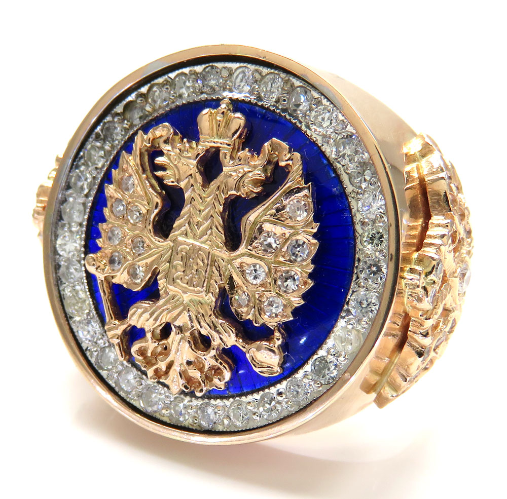 14k rose gold blue enamel diamond russian eagle ring 1.75ct