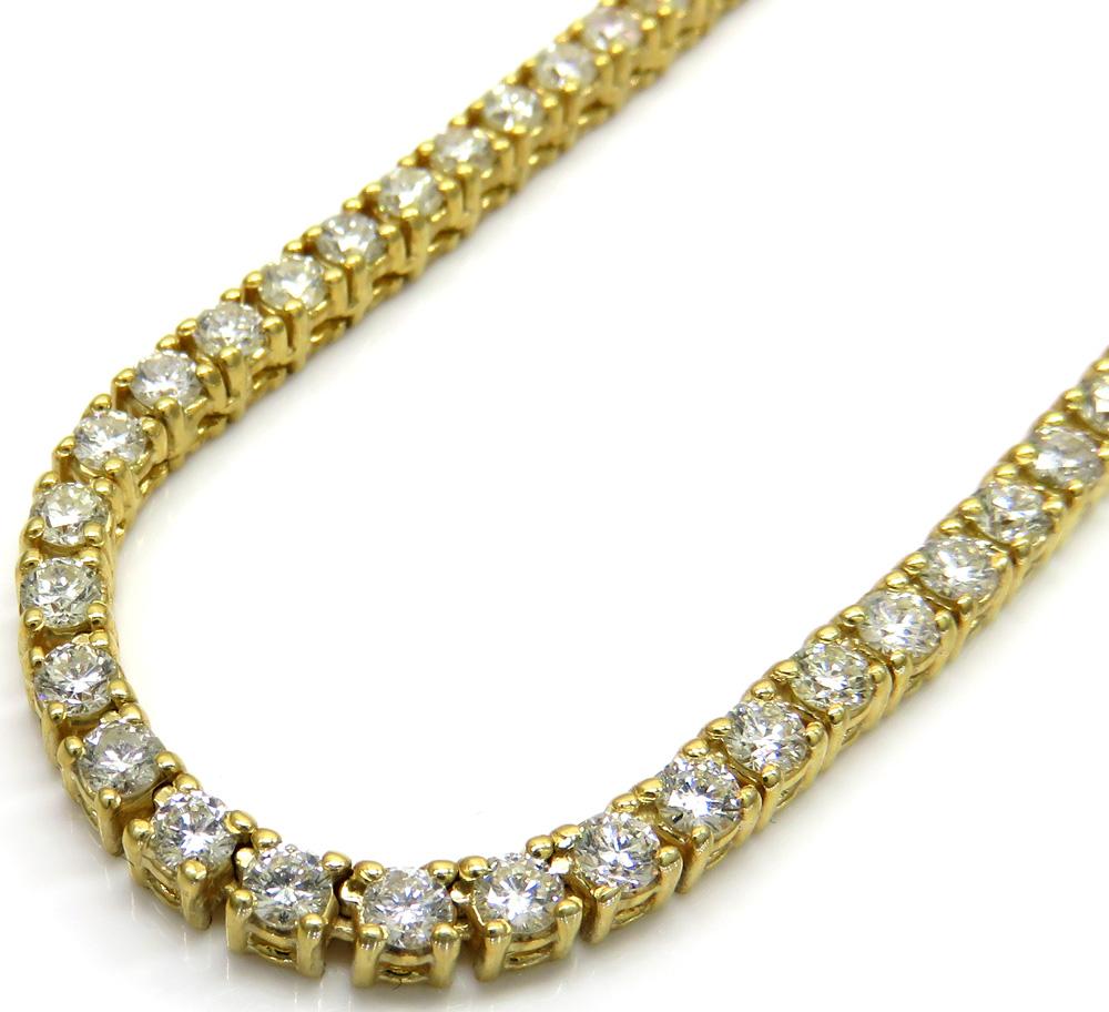 14k yellow gold round 10 pointer diamond tennis chain 22