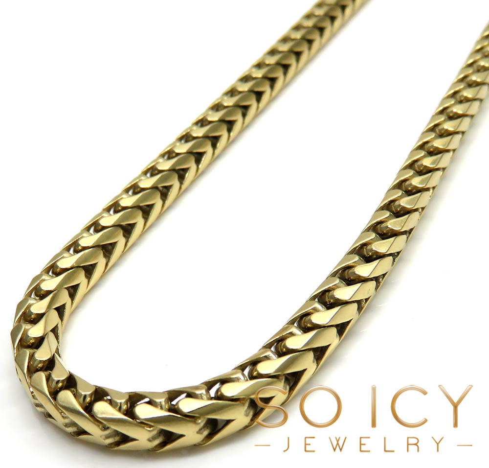 10k Solid Yellow Gold Tight Link Franco Chain 24 Inch 4.5mm