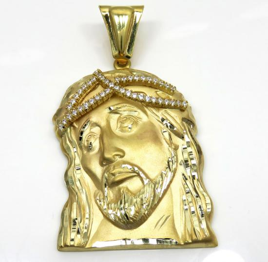 14k yellow gold large jesus face solid back pendant .45ct