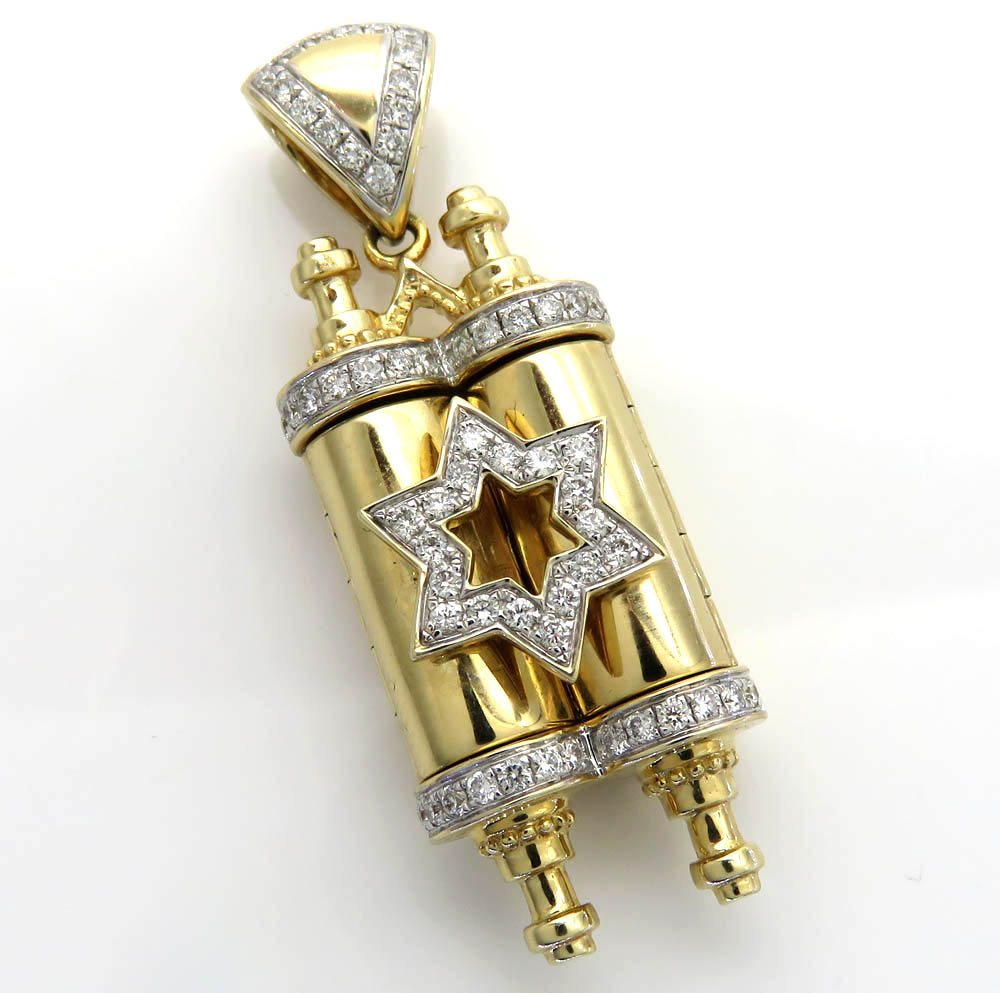 14k yellow gold diamond star of david torah pendant 0.85ct