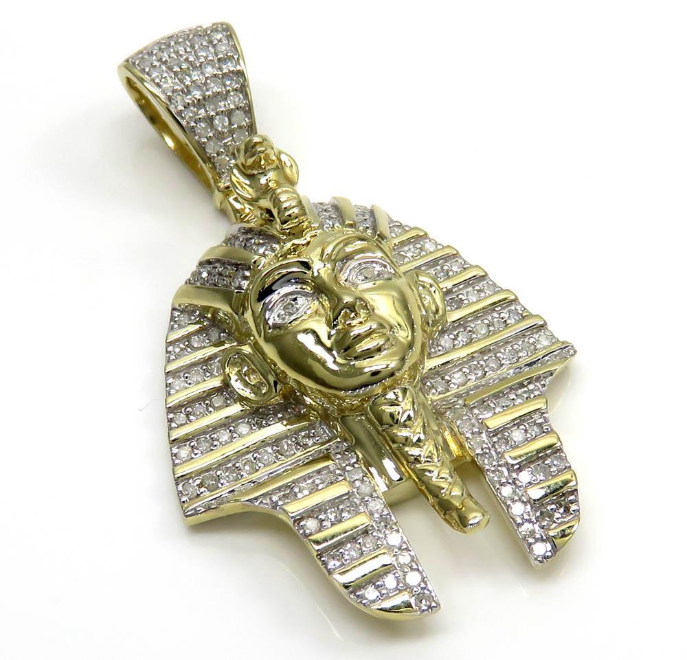 10k Yellow Gold Diamond Medium King Tut Egyptian Pendant 0.83CT