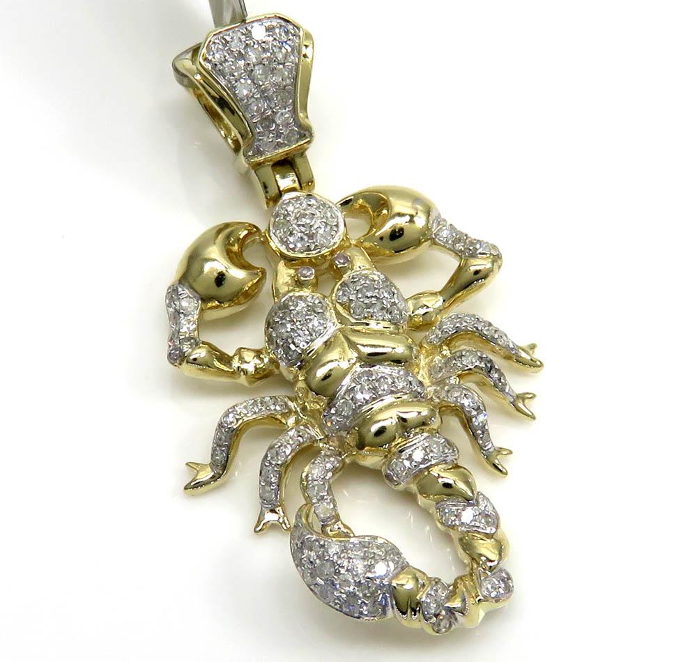 10k yellow gold small diamond scorpion pendant 0.46ct