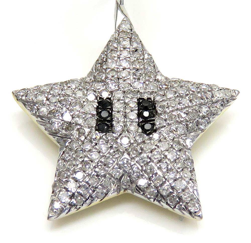 10k yellow gold small diamond mario star pendant 0.34ct
