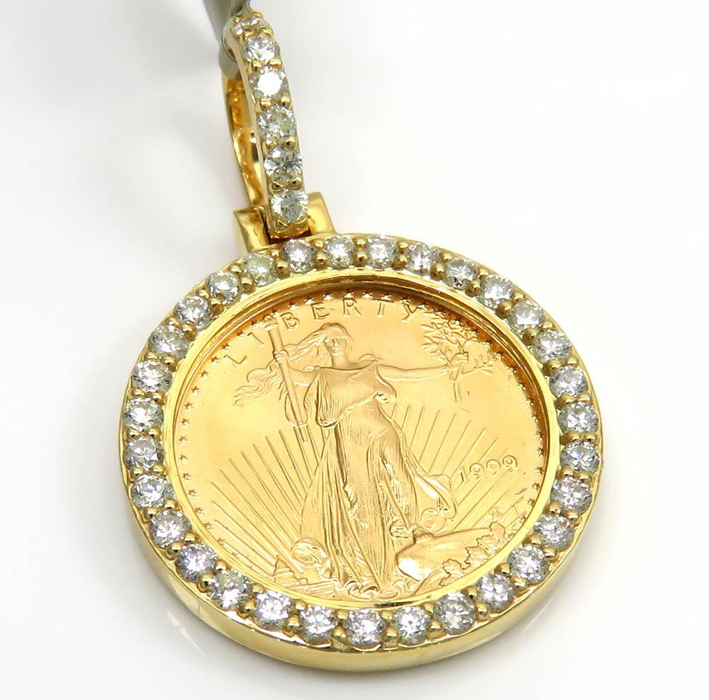 10k yellow gold small diamond lady liberty 1/10 oz coin pendant 0.70ct