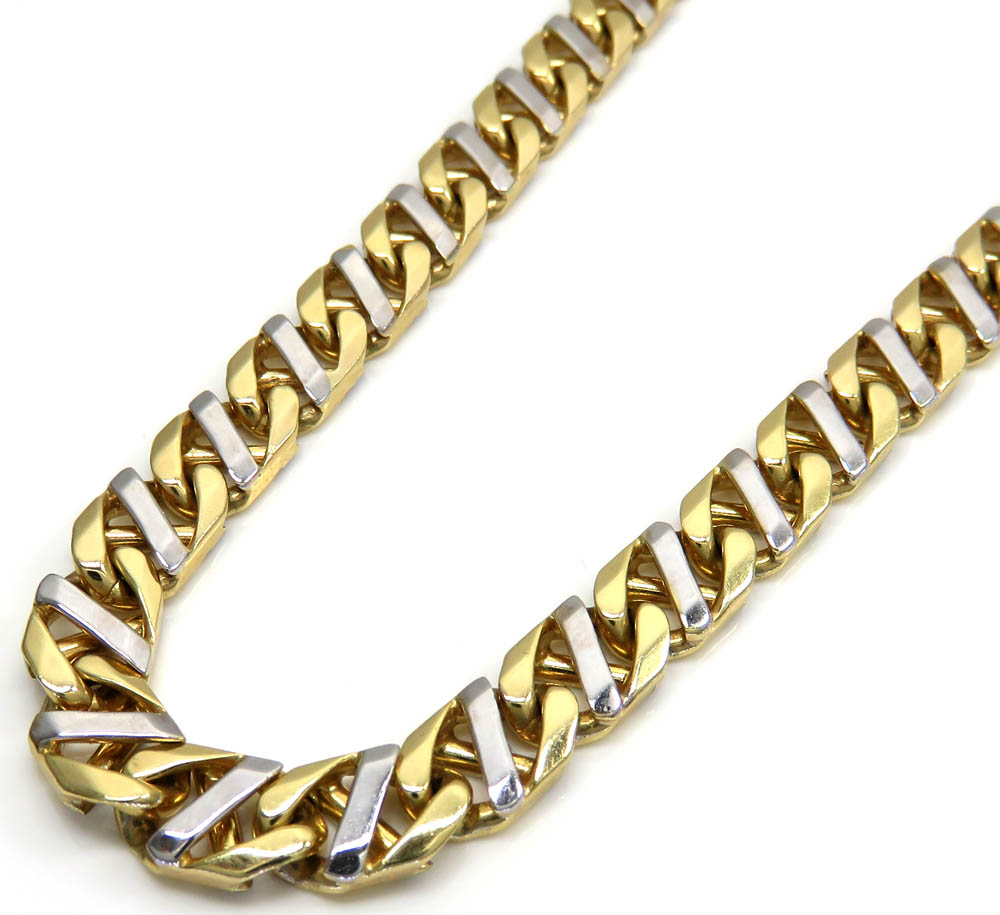 10k two tone fancy anchor link chain 22 inches 7mm