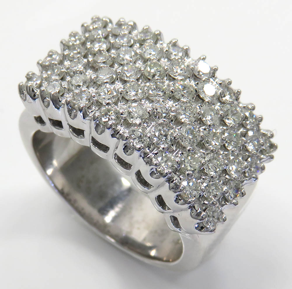 14k white gold diamond thick cluster ring 2.00ct