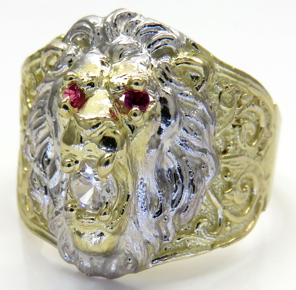10K Two Tone Gold CZ Lion Ring 0.15CT