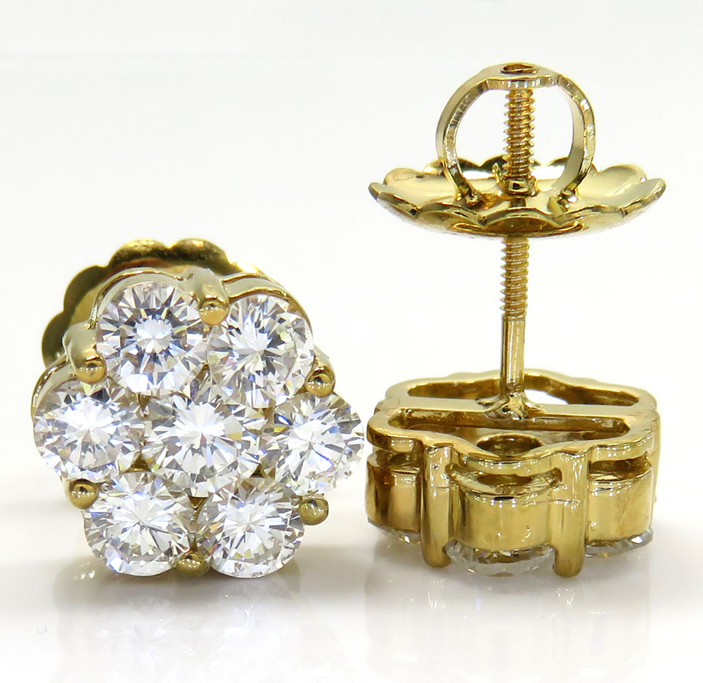 14k gold vs large round diamond cluster earrings 3.00ct