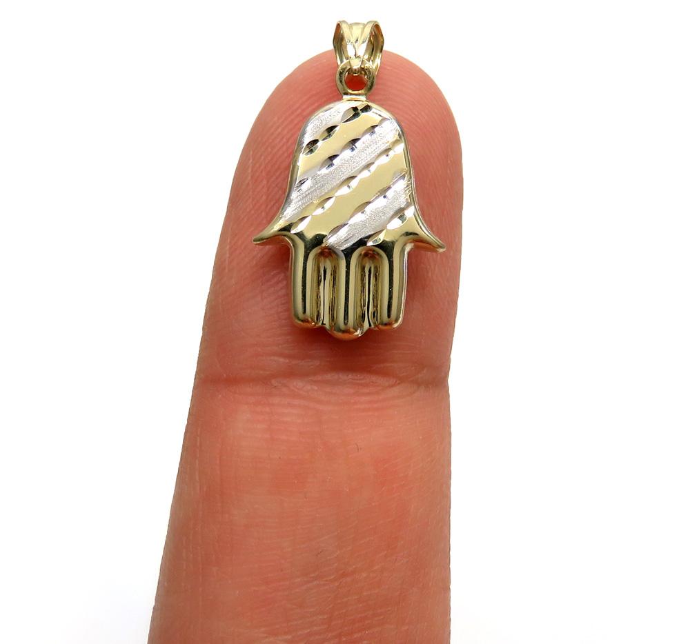 14k two tone gold mini hollow hamsa pendant