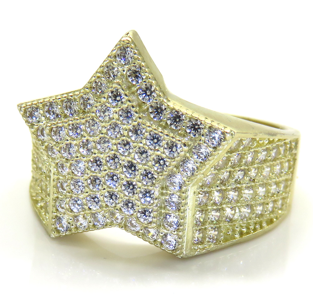 10k yellow gold double layer cz star ring 2.50ct