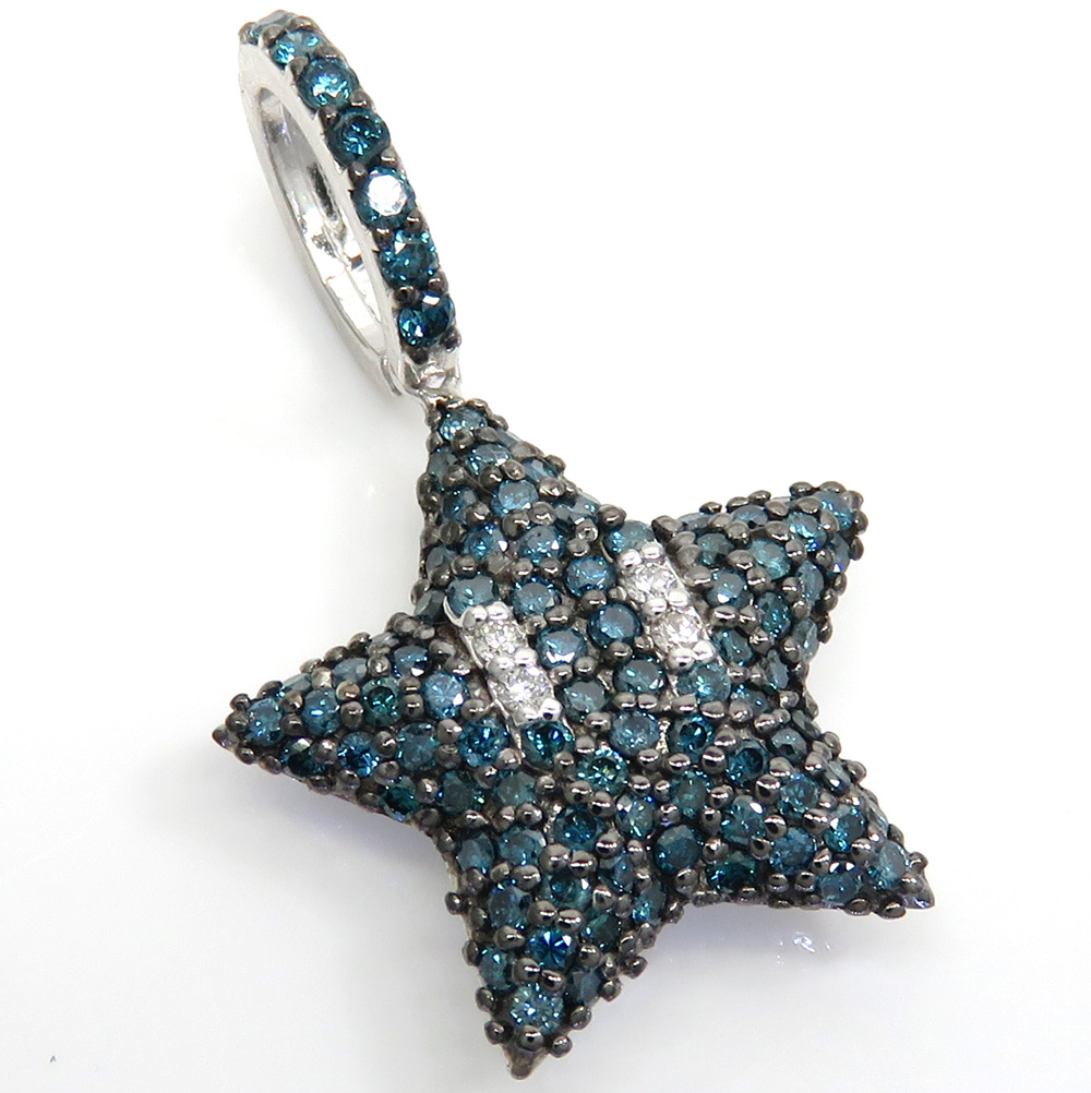 14k white gold blue diamond mario star pendant 1.20ct