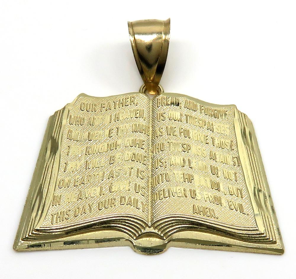 10k yellow gold medium holy bible book pendant