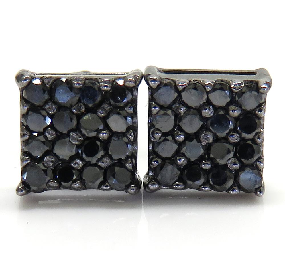 14k black gold 4x4 square black diamond earrings 0.65ct