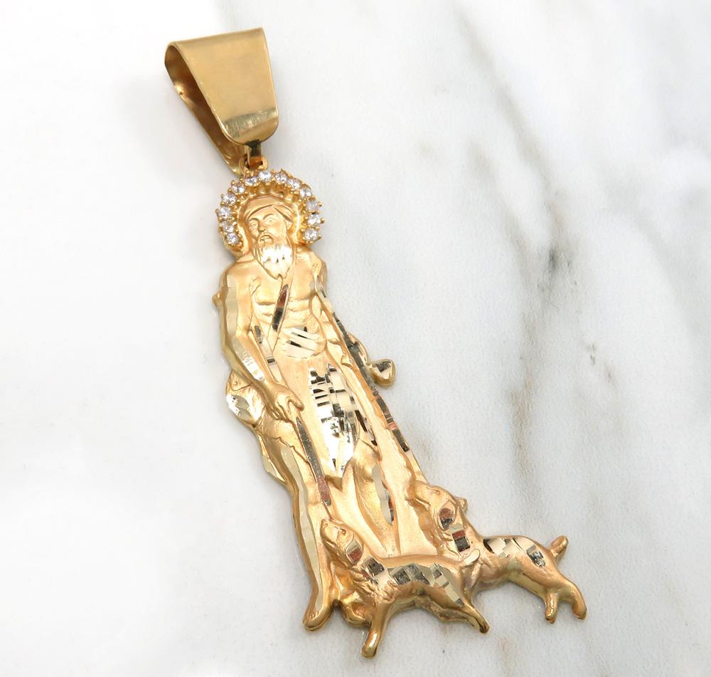 10k yellow gold large cz saint lazarus of bethany pendant 0.40ct
