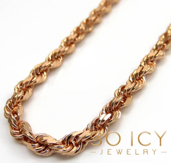 14k rose gold solid diamond cut rope chain 18-24 inches 3mm