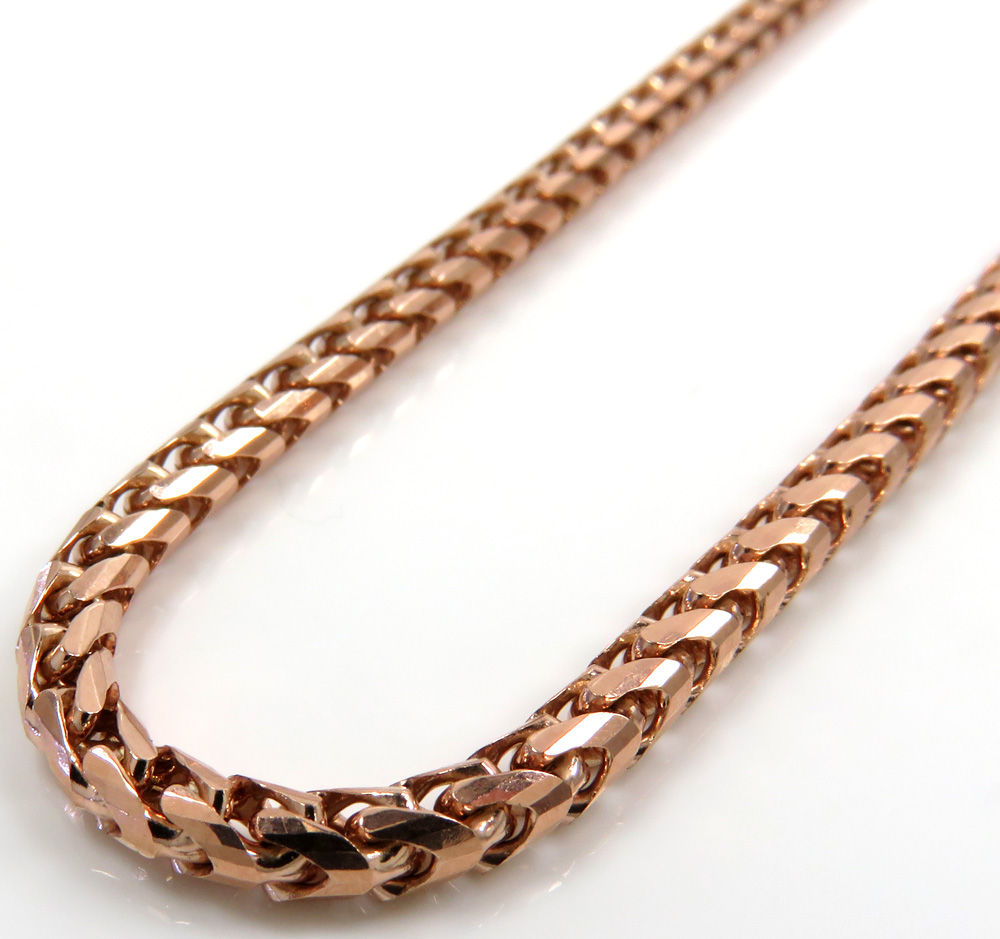 10k rose gold solid franco link chain 24 inch 3mm