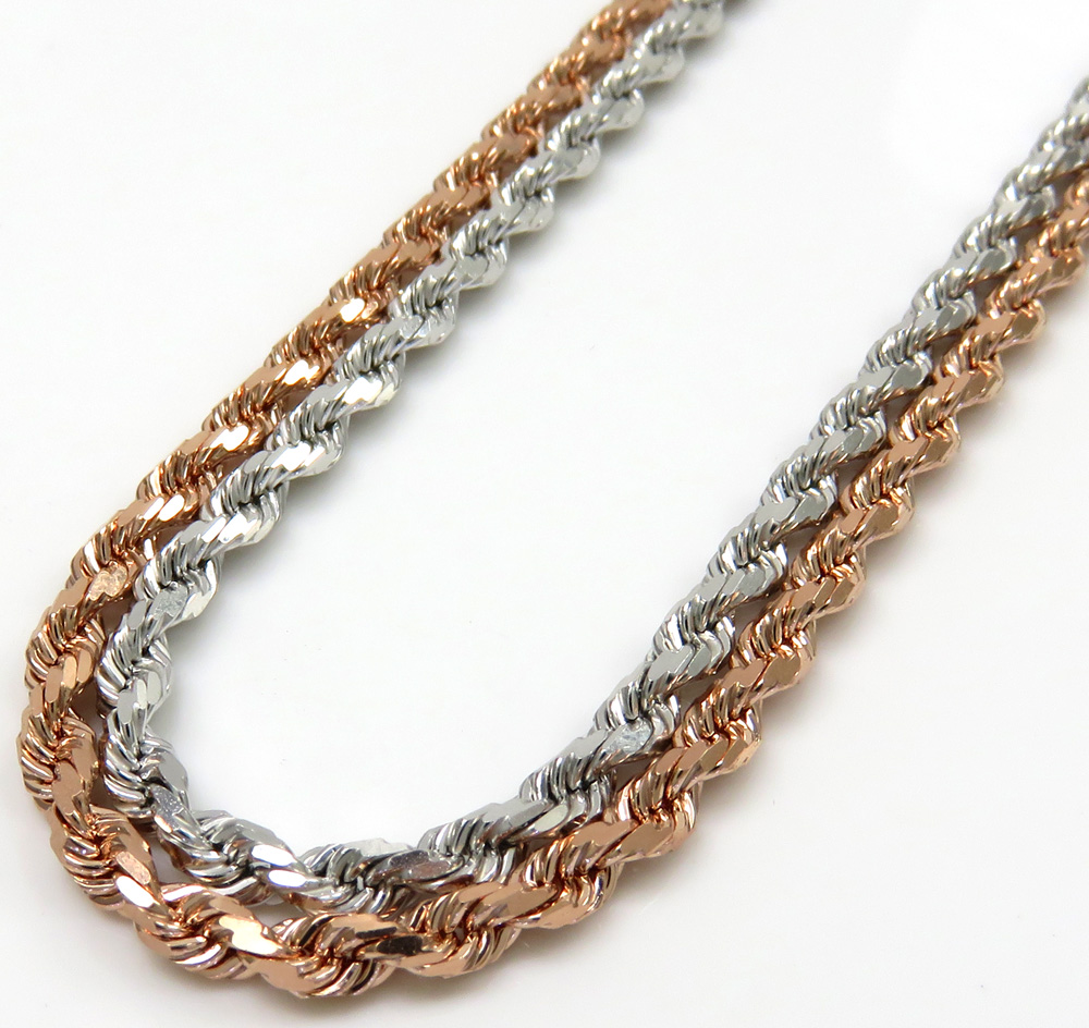 10k rose or white gold solid diamond cut rope chain 20-26 inch 2.50mm
