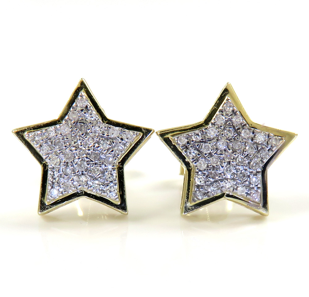 10k yellow gold diamond layered star earrings 0.15ct