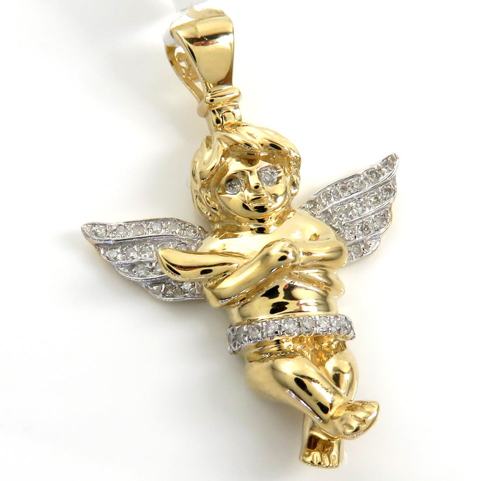 14k yellow gold small diamond praying angel pendant 0.18ct