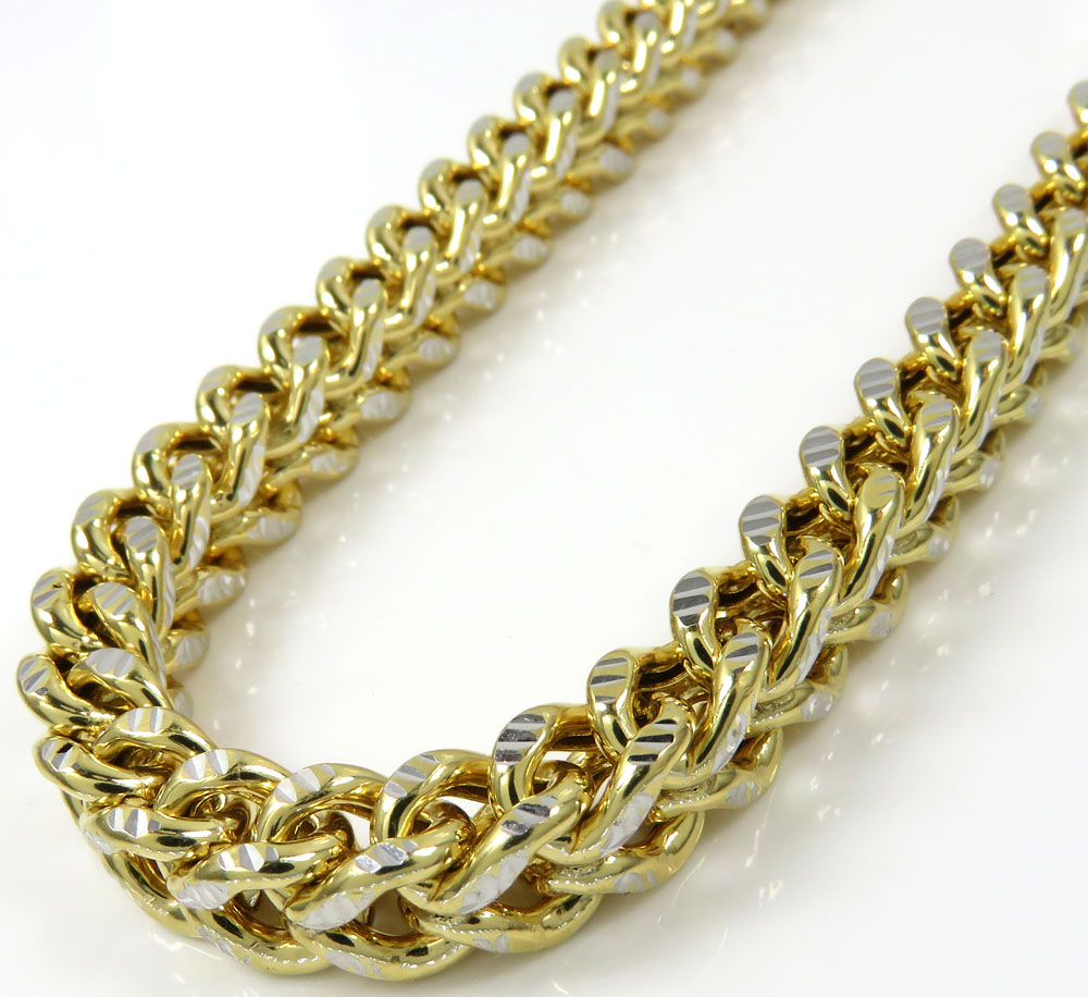 10k yellow gold diamond cut franco link chain 18-26 inch 6mm