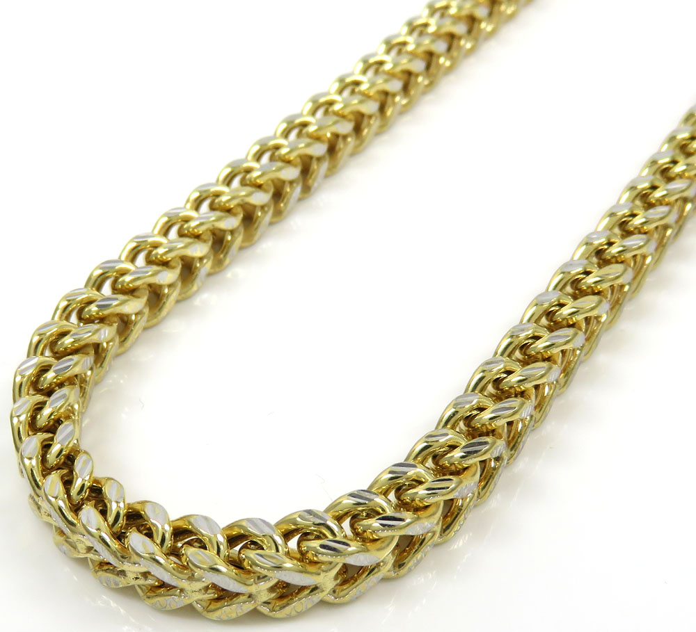 10k yellow gold diamond cut franco link chain 18-26 inch 5mm